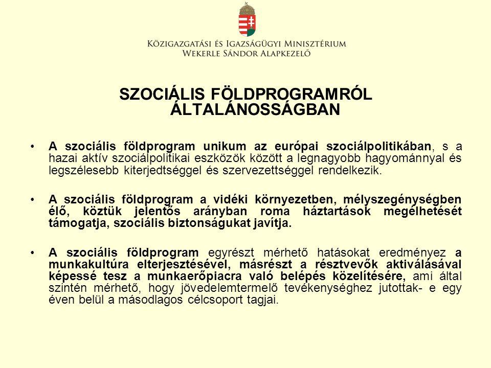 SZOCIÁLIS FÖLDPROGRAMRÓL ÁLTALÁNOSSÁGBAN A szociális földprogram unikum az európai szociálpolitikában, s a hazai aktív szociálpolitikai eszközök között a legnagyobb hagyománnyal és legszélesebb kiterjedtséggel és szervezettséggel rendelkezik.