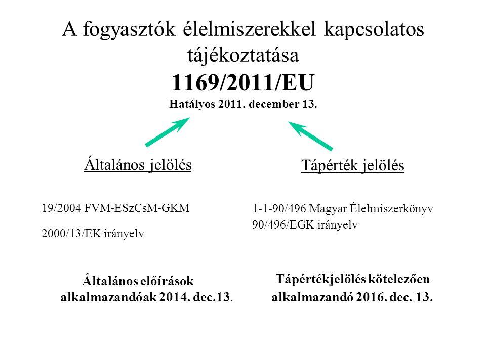 A fogyasztók élelmiszerekkel kapcsolatos tájékoztatása 1169/2011/EU Hatályos 2011.