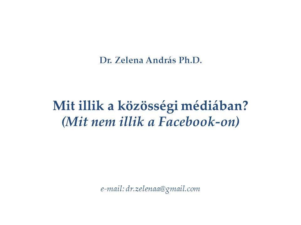 Dr. Zelena András Ph.D. Mit illik a közösségi médiában.