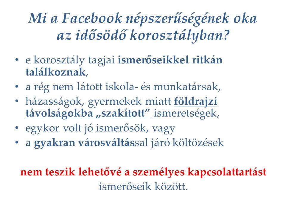 Mi a Facebook népszerűségének oka az idősödő korosztályban.