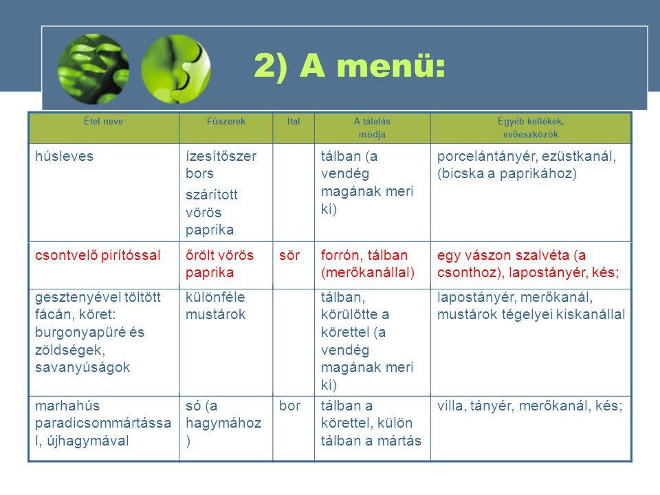 2) A menü: Étel neveFűszerekItalA tálalás módja Egyéb kellékek, evőeszközök húslevesízesítőszer bors szárított vörös paprika tálban (a vendég magának