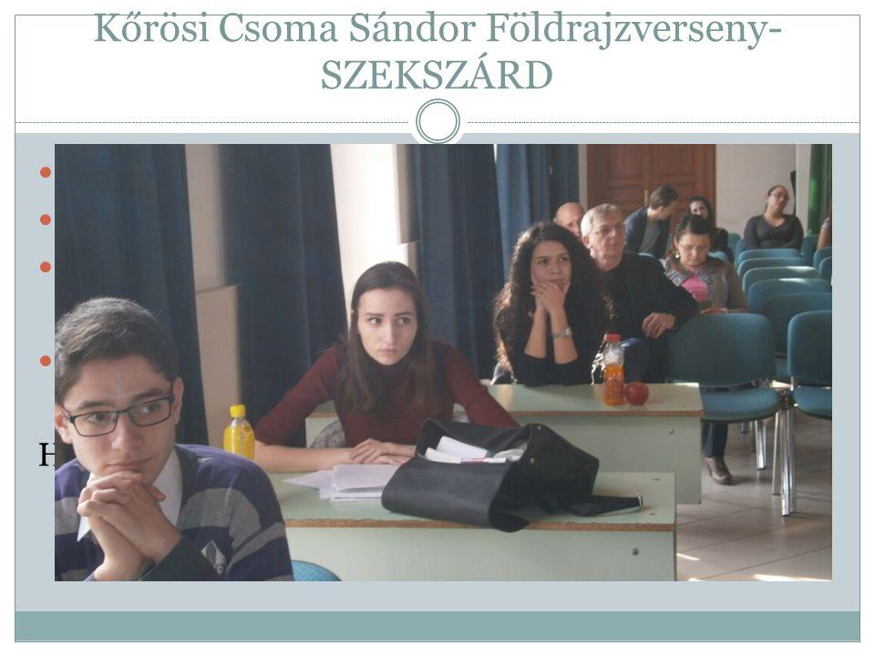 Kőrösi Csoma Sándor Földrajzverseny- SZEKSZÁRD 1. forduló Hrčka Szandi- 3.