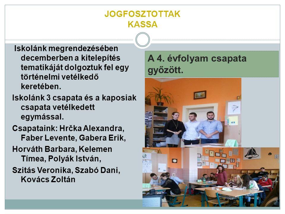JOGFOSZTOTTAK KASSA Iskolánk megrendezésében decemberben a kitelepítés tematikáját dolgoztuk fel egy történelmi vetélkedő keretében.