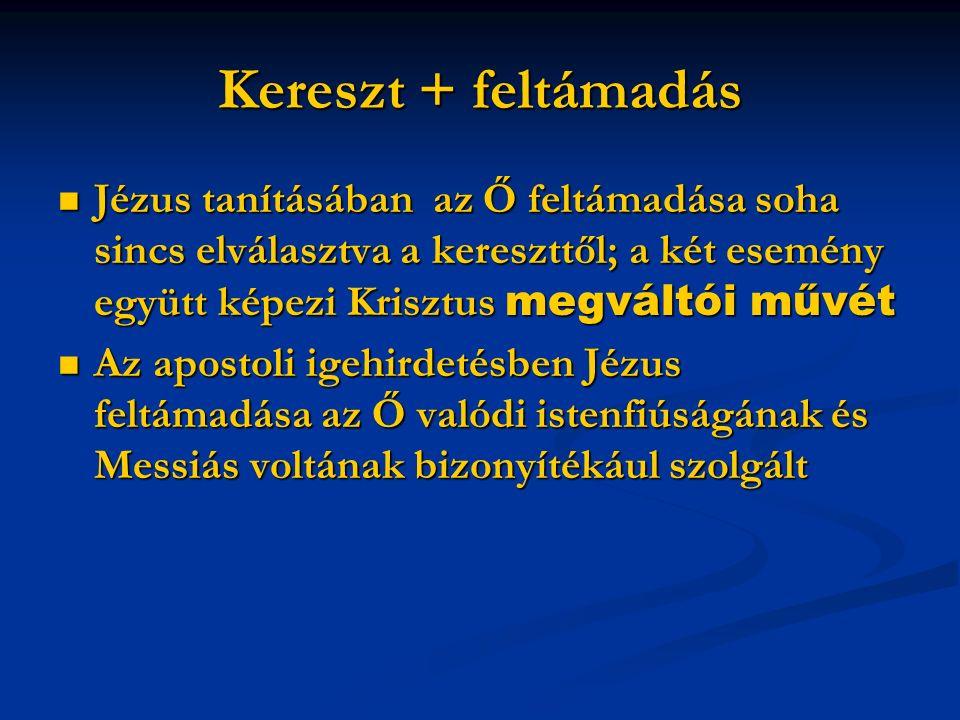 Kereszt + feltámadás Jézus tanításában az Ő feltámadása soha sincs elválasztva a kereszttől; a két esemény együtt képezi Krisztus megváltói művét Jézus tanításában az Ő feltámadása soha sincs elválasztva a kereszttől; a két esemény együtt képezi Krisztus megváltói művét Az apostoli igehirdetésben Jézus feltámadása az Ő valódi istenfiúságának és Messiás voltának bizonyítékául szolgált Az apostoli igehirdetésben Jézus feltámadása az Ő valódi istenfiúságának és Messiás voltának bizonyítékául szolgált