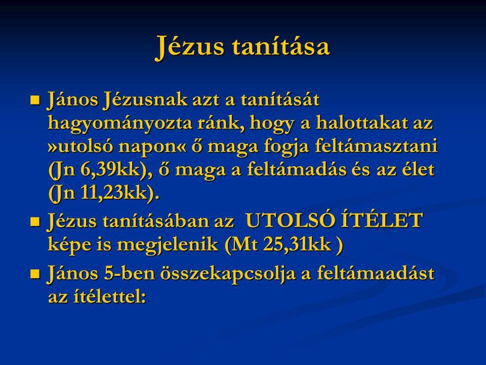 Jézus tanítása János Jézusnak azt a tanítását hagyományozta ránk, hogy a halottakat az »utolsó napon« ő maga fogja feltámasztani (Jn 6,39kk), ő maga a feltámadás és az élet (Jn 11,23kk).
