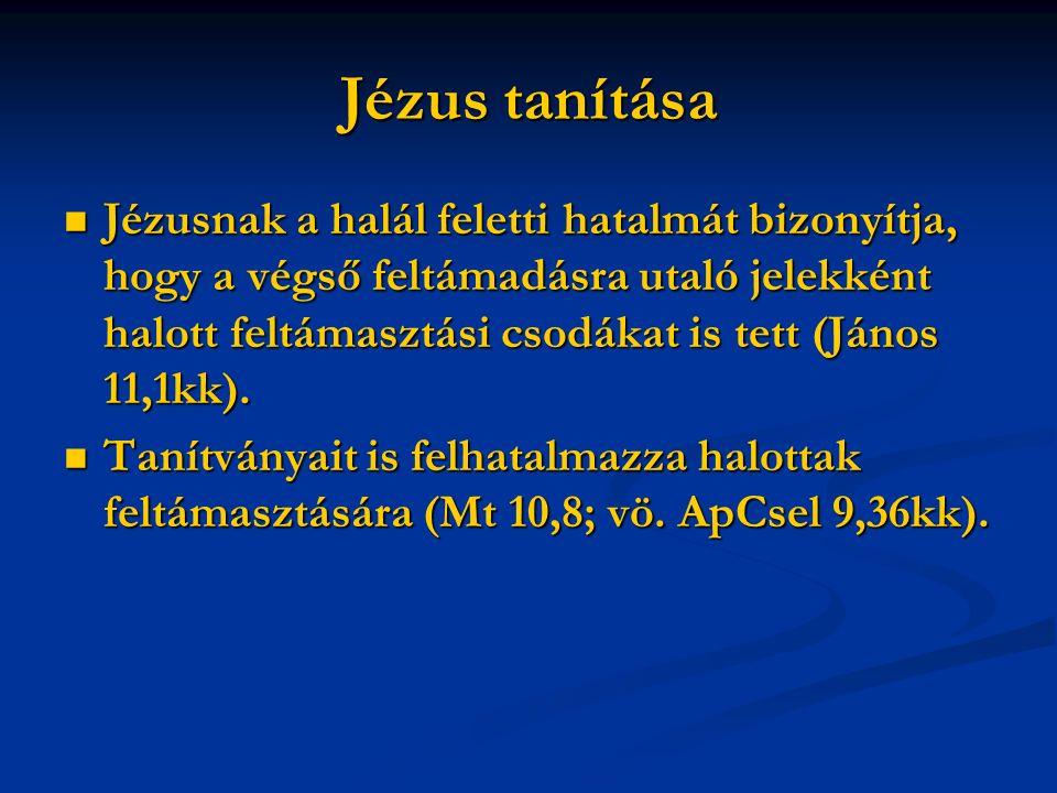 Jézus tanítása Jézusnak a halál feletti hatalmát bizonyítja, hogy a végső feltámadásra utaló jelekként halott feltámasztási csodákat is tett (János 11,1kk).