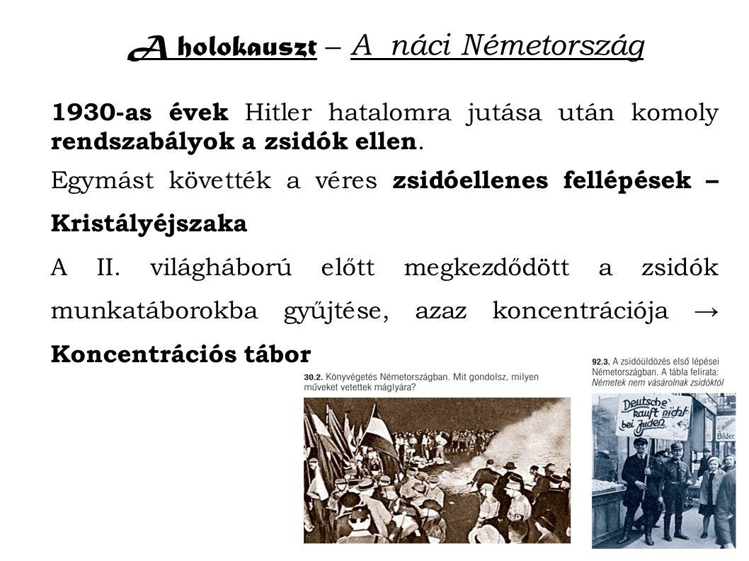 A holokauszt – A náci Németország 1930-as évek Hitler hatalomra jutása után komoly rendszabályok a zsidók ellen.