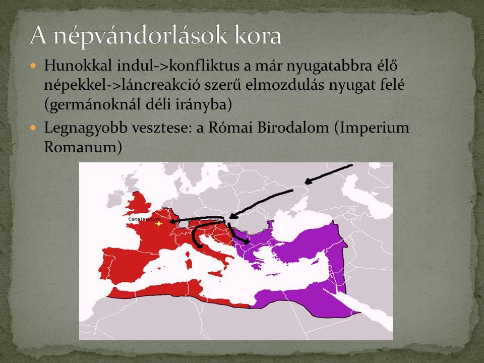 Hunokkal indul->konfliktus a már nyugatabbra élő népekkel->láncreakció szerű elmozdulás nyugat felé (germánoknál déli irányba) Legnagyobb vesztese: a Római Birodalom (Imperium Romanum)