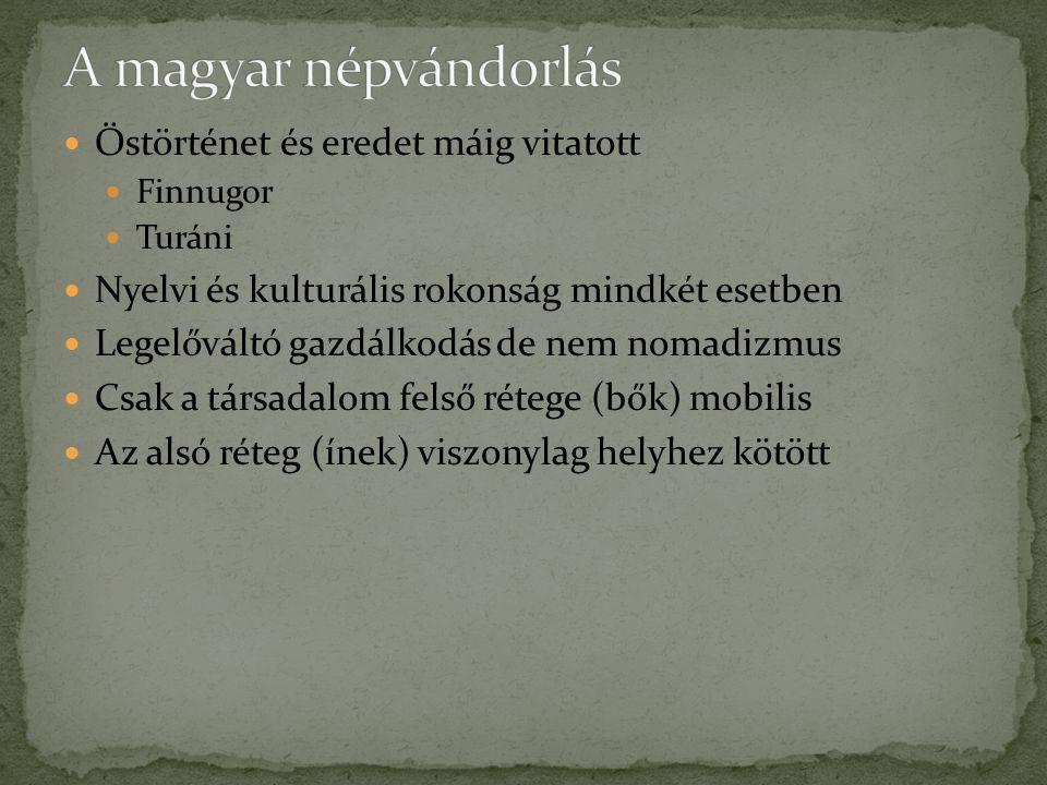 Őstörténet és eredet máig vitatott Finnugor Turáni Nyelvi és kulturális rokonság mindkét esetben Legelőváltó gazdálkodás de nem nomadizmus Csak a társ