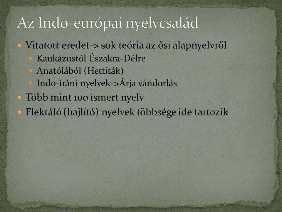 Vitatott eredet-> sok teória az ősi alapnyelvről Kaukázustól Északra-Délre Anatólából (Hettiták) Indo-iráni nyelvek->Árja vándorlás Több mint 100 ismert nyelv Flektáló (hajlító) nyelvek többsége ide tartozik