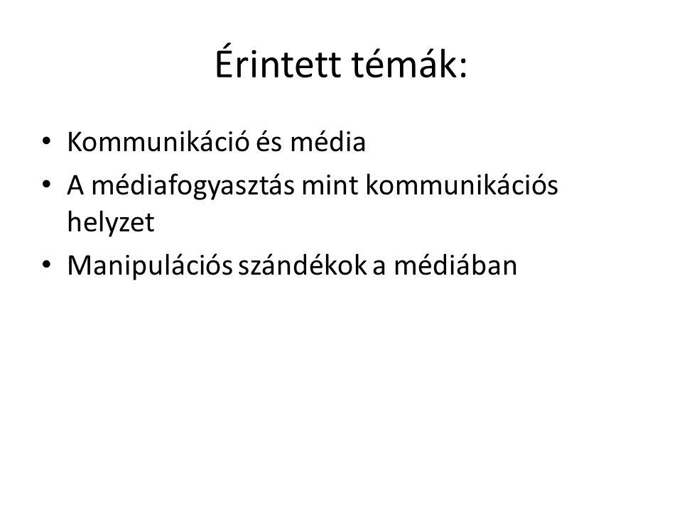 Érintett témák: Kommunikáció és média A médiafogyasztás mint kommunikációs helyzet Manipulációs szándékok a médiában