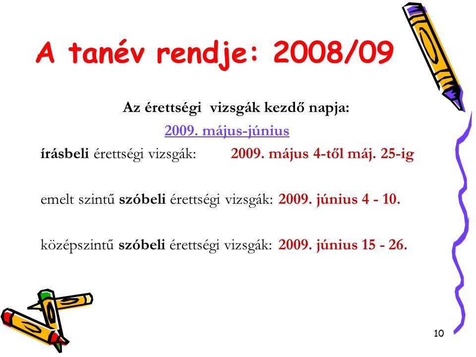 10 A tanév rendje: 2008/09 Az érettségi vizsgák kezdő napja: 2009.