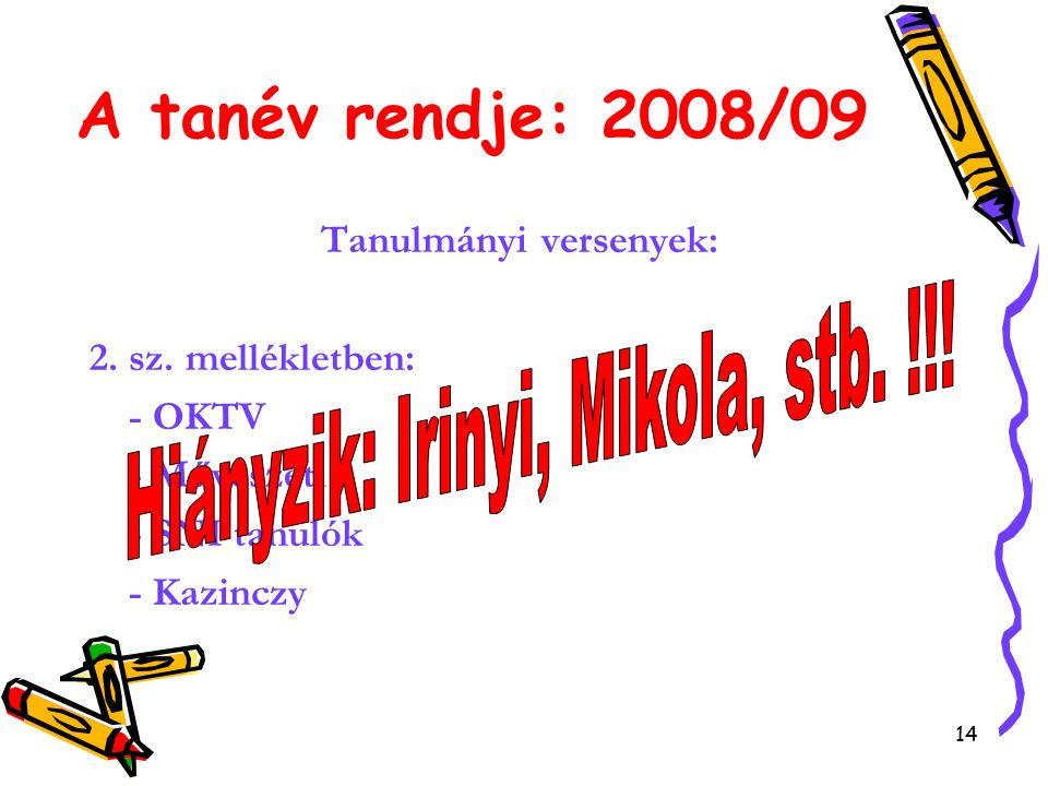 14 A tanév rendje: 2008/09 Tanulmányi versenyek: 2.