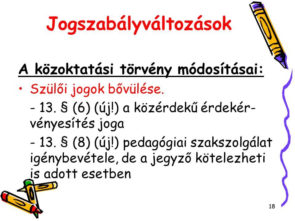 18 Jogszabályváltozások A közoktatási törvény módosításai: Szülői jogok bővülése.