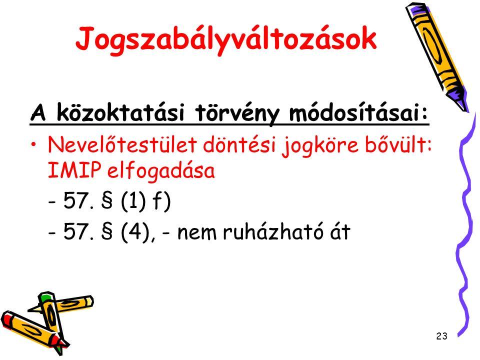 23 Jogszabályváltozások A közoktatási törvény módosításai: Nevelőtestület döntési jogköre bővült: IMIP elfogadása - 57.