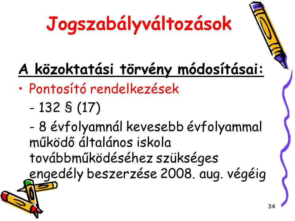 34 Jogszabályváltozások A közoktatási törvény módosításai: Pontosító rendelkezések - 132 § (17) - 8 évfolyamnál kevesebb évfolyammal működő általános iskola továbbműködéséhez szükséges engedély beszerzése 2008.