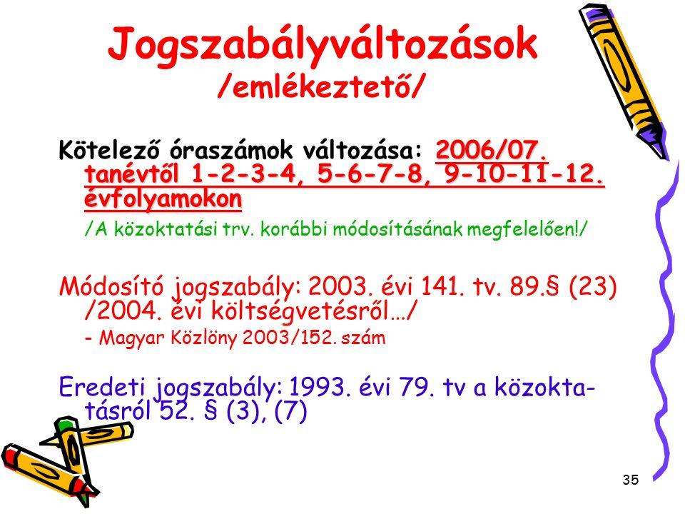 35 Jogszabályváltozások /emlékeztető/ 2006/07. tanévtől 1-2-3-4, 5-6-7-8, 9-10-11-12.