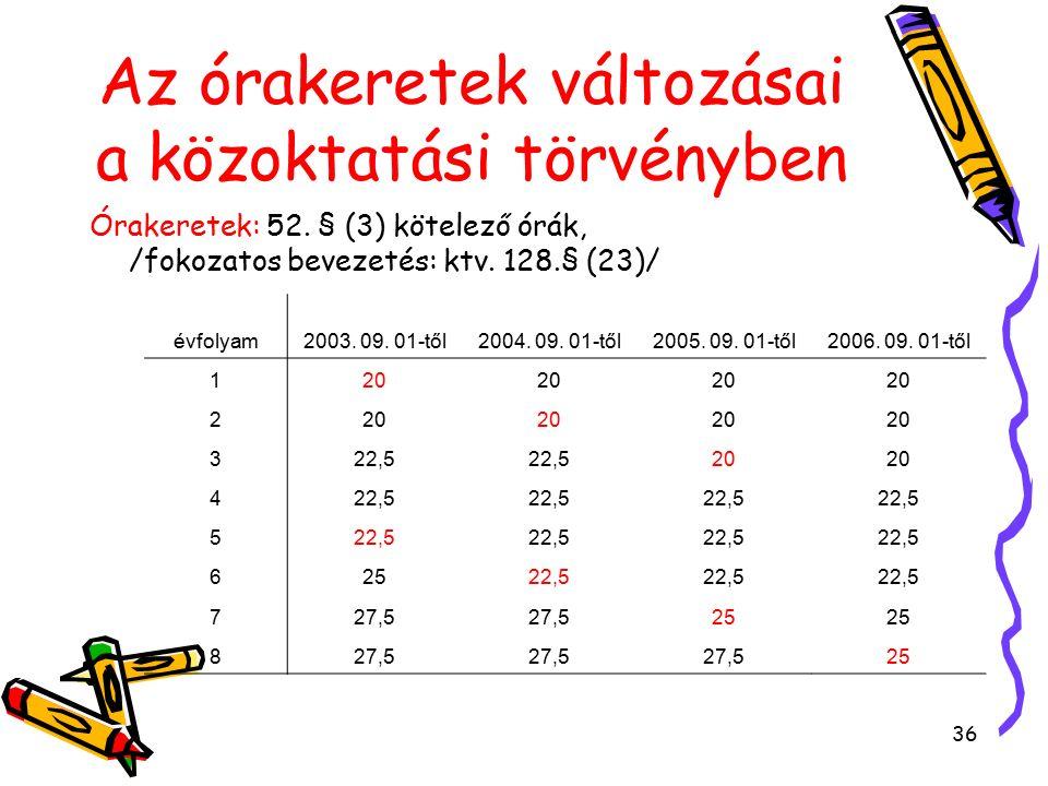 36 Órakeretek: 52. § (3) kötelező órák, /fokozatos bevezetés: ktv.