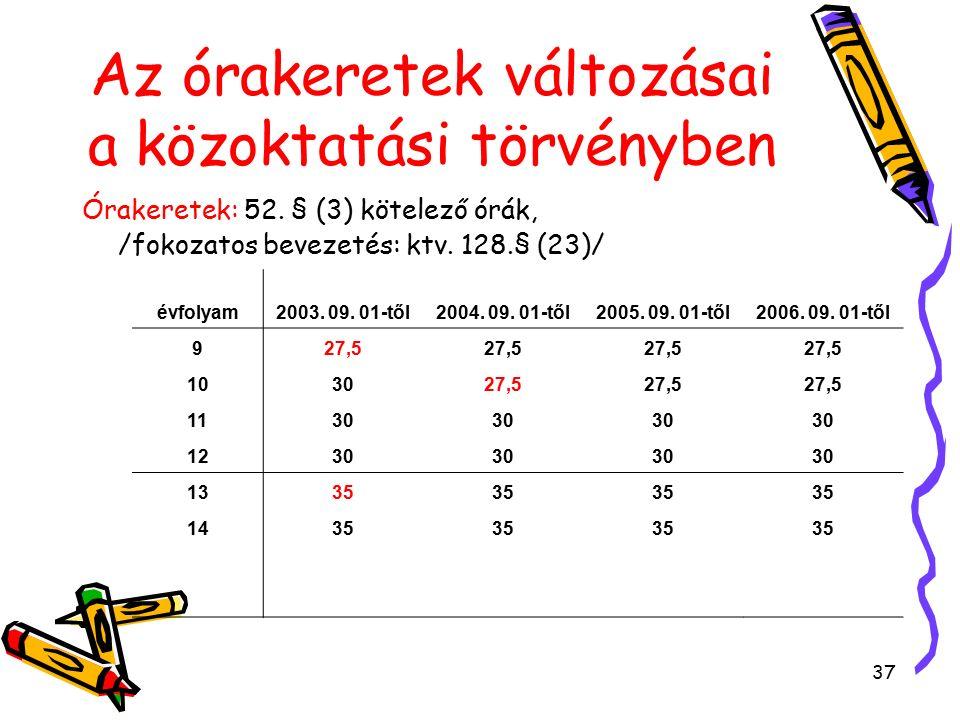 37 Órakeretek: 52. § (3) kötelező órák, /fokozatos bevezetés: ktv.