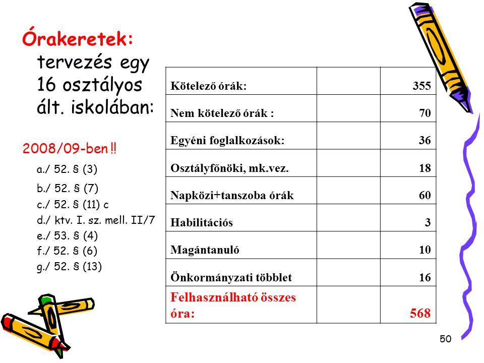 50 Órakeretek: tervezés egy 16 osztályos ált. iskolában: 2008/09-ben !.