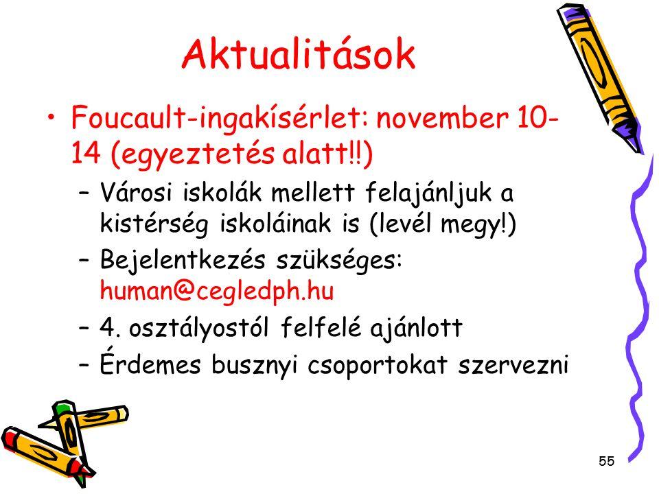 55 Aktualitások Foucault-ingakísérlet: november 10- 14 (egyeztetés alatt!!) –V–Városi iskolák mellett felajánljuk a kistérség iskoláinak is (levél megy!) –B–Bejelentkezés szükséges: human@cegledph.hu –4–4.