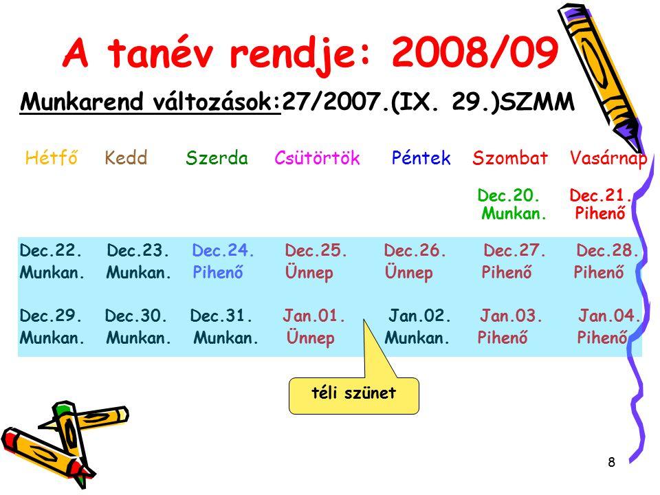 8 A tanév rendje: 2008/09 Munkarend változások:27/2007.(IX.