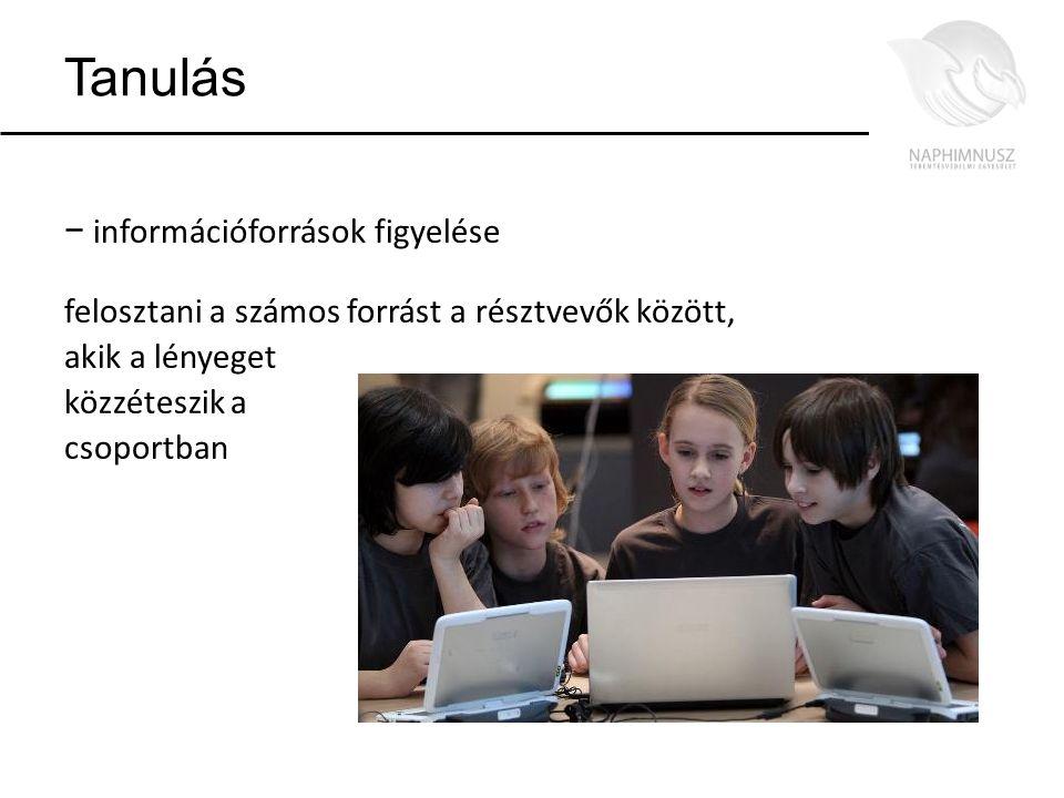 Tanulás − információforrások figyelése felosztani a számos forrást a résztvevők között, akik a lényeget közzéteszik a csoportban