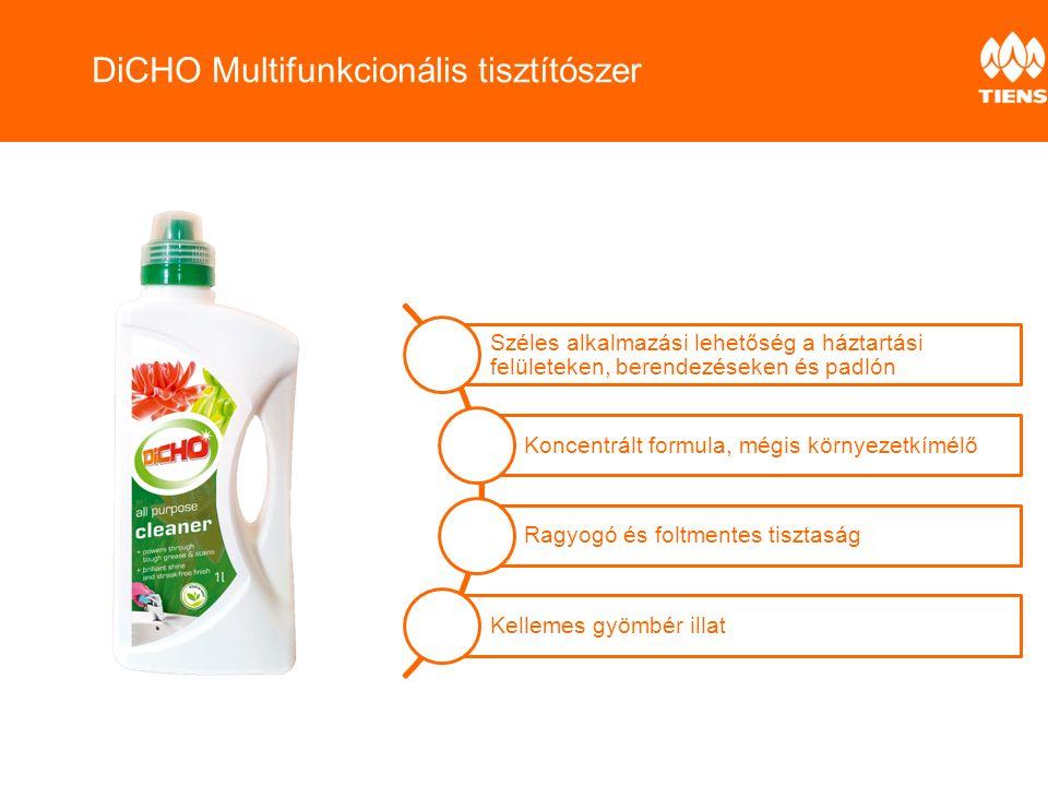 Széles alkalmazási lehetőség a háztartási felületeken, berendezéseken és padlón Koncentrált formula, mégis környezetkímélő Ragyogó és foltmentes tisztaság Kellemes gyömbér illat DiCHO Multifunkcionális tisztítószer