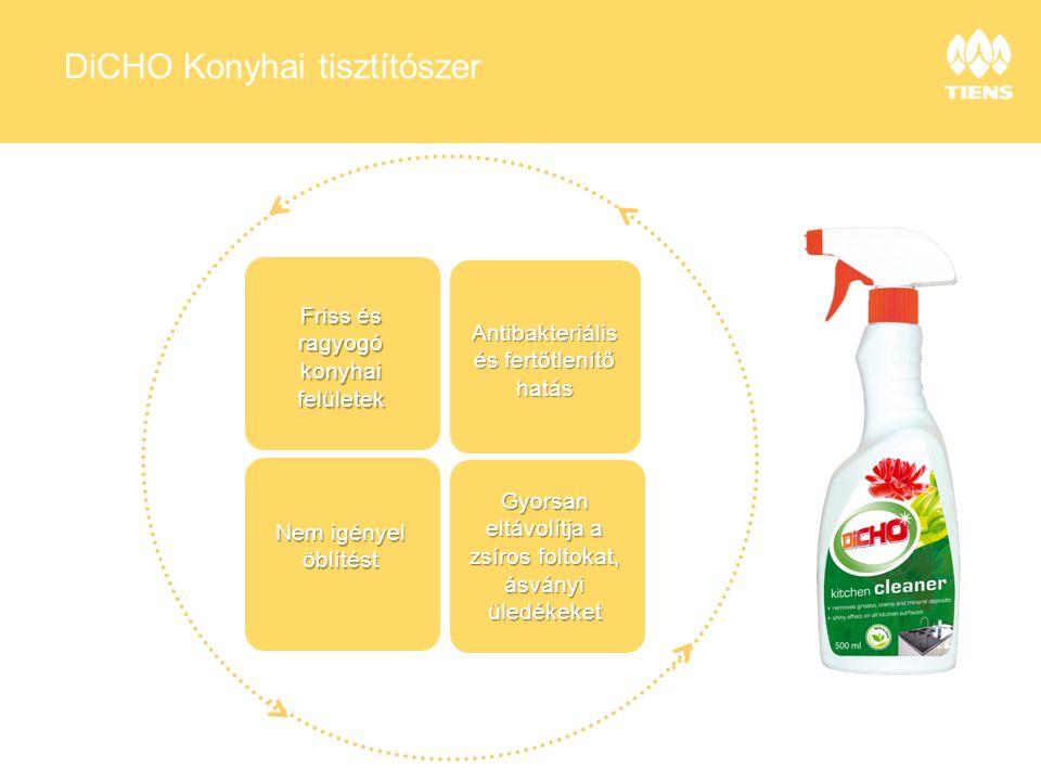 DiCHO Konyhai tisztítószer Friss és ragyogó konyhai felületek Antibakteriális és fertőtlenítő hatás Nem igényel öblítést Gyorsan eltávolítja a zsíros foltokat, ásványi üledékeket