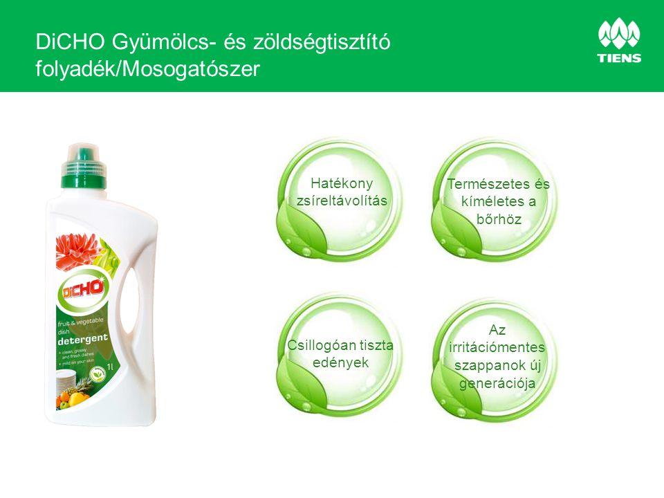 DiCHO Gyümölcs- és zöldségtisztító folyadék/Mosogatószer Hatékony zsíreltávolítás Természetes és kíméletes a bőrhöz Csillogóan tiszta edények Az irritációmentes szappanok új generációja