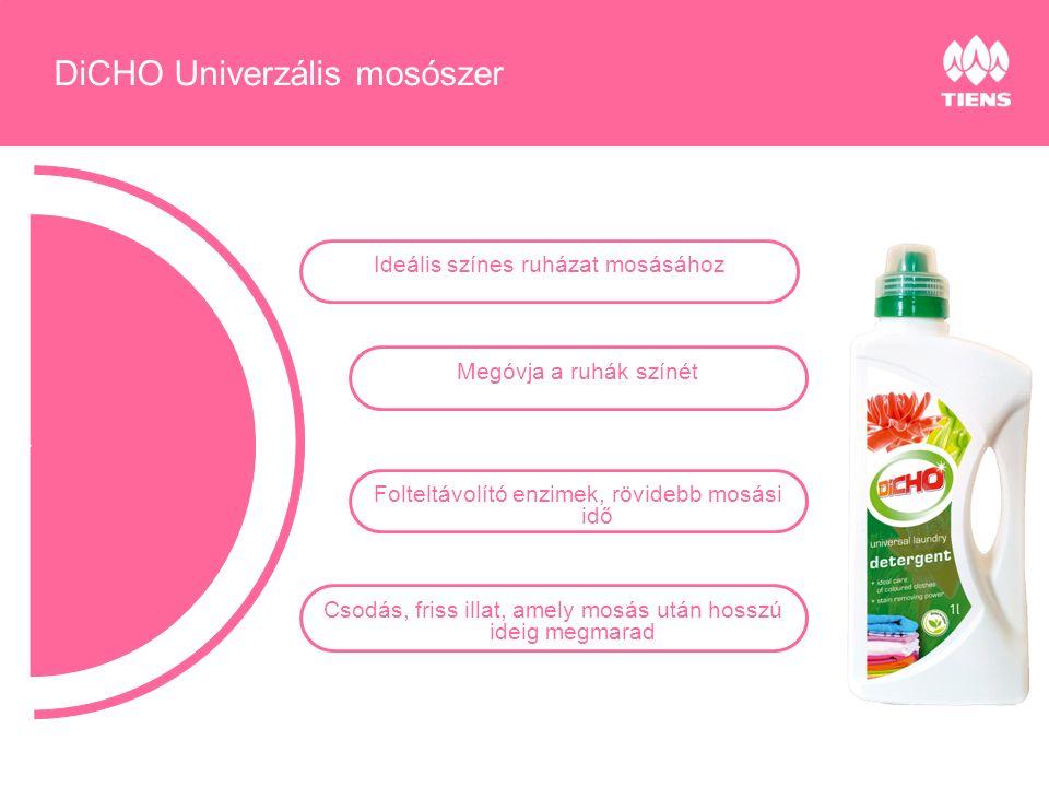 Ideális színes ruházat mosásához Megóvja a ruhák színét Folteltávolító enzimek, rövidebb mosási idő Csodás, friss illat, amely mosás után hosszú ideig megmarad DiCHO Univerzális mosószer