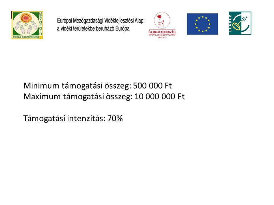 Minimum támogatási összeg: 500 000 Ft Maximum támogatási összeg: 10 000 000 Ft Támogatási intenzitás: 70%