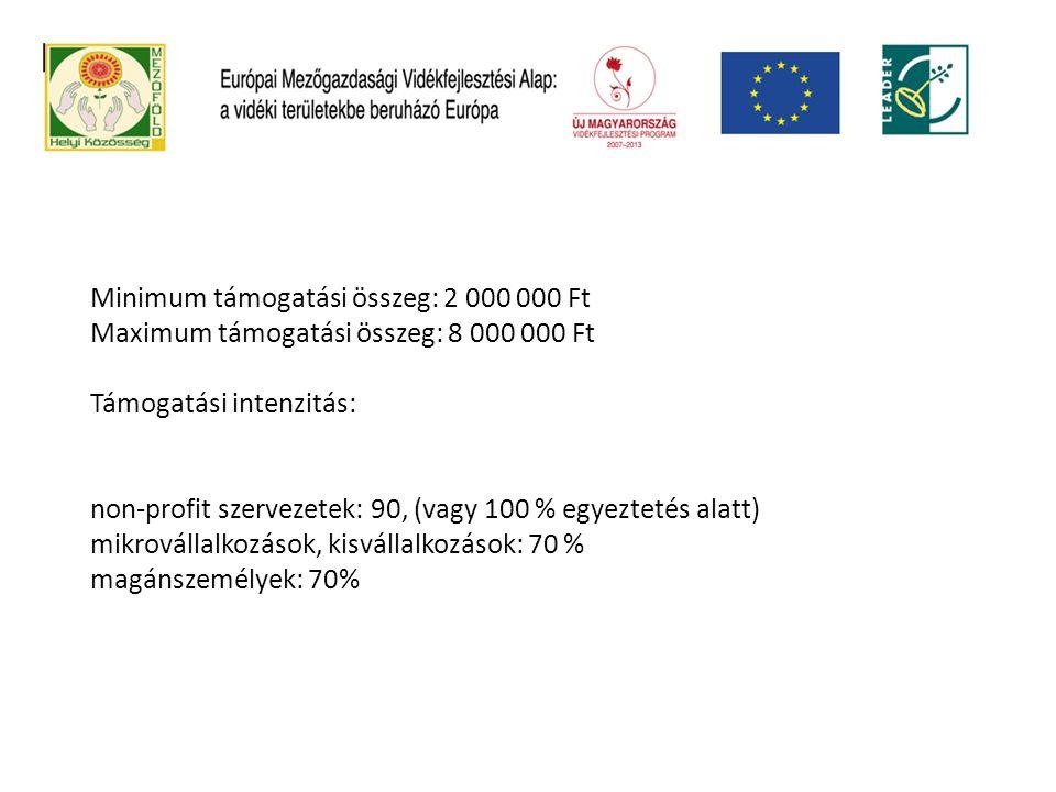 Minimum támogatási összeg: 2 000 000 Ft Maximum támogatási összeg: 8 000 000 Ft Támogatási intenzitás: non-profit szervezetek: 90, (vagy 100 % egyeztetés alatt) mikrovállalkozások, kisvállalkozások: 70 % magánszemélyek: 70%