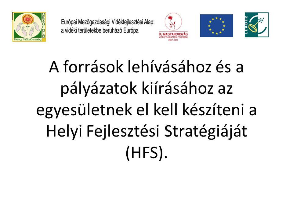 A források lehívásához és a pályázatok kiírásához az egyesületnek el kell készíteni a Helyi Fejlesztési Stratégiáját (HFS).
