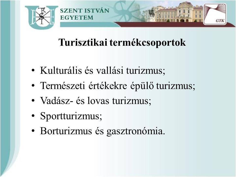 Turisztikai termékcsoportok Kulturális és vallási turizmus; Természeti értékekre épülő turizmus; Vadász- és lovas turizmus; Sportturizmus; Borturizmus és gasztronómia.