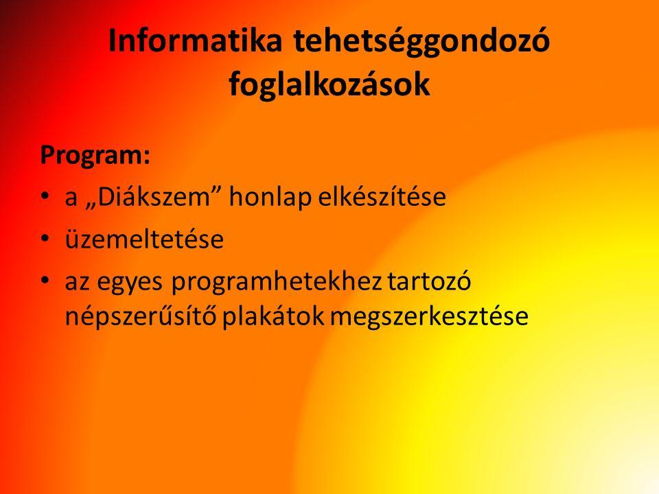 """Informatika tehetséggondozó foglalkozások Program: a """"Diákszem honlap elkészítése üzemeltetése az egyes programhetekhez tartozó népszerűsítő plakátok megszerkesztése"""