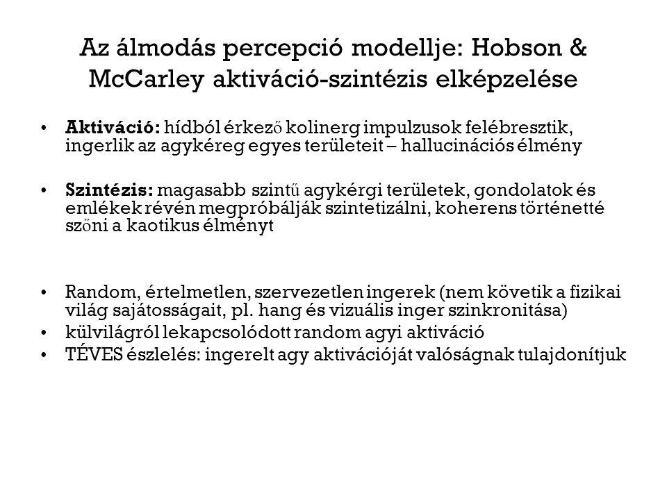 Az álmodás percepció modellje: Hobson & McCarley aktiváció-szintézis elképzelése Aktiváció: hídból érkez ő kolinerg impulzusok felébresztik, ingerlik