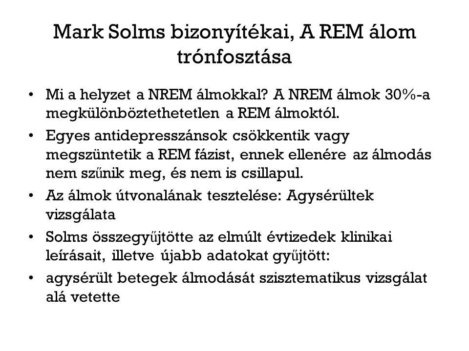 Mark Solms bizonyítékai, A REM álom trónfosztása Mi a helyzet a NREM álmokkal? A NREM álmok 30%-a megkülönböztethetetlen a REM álmoktól. Egyes antidep