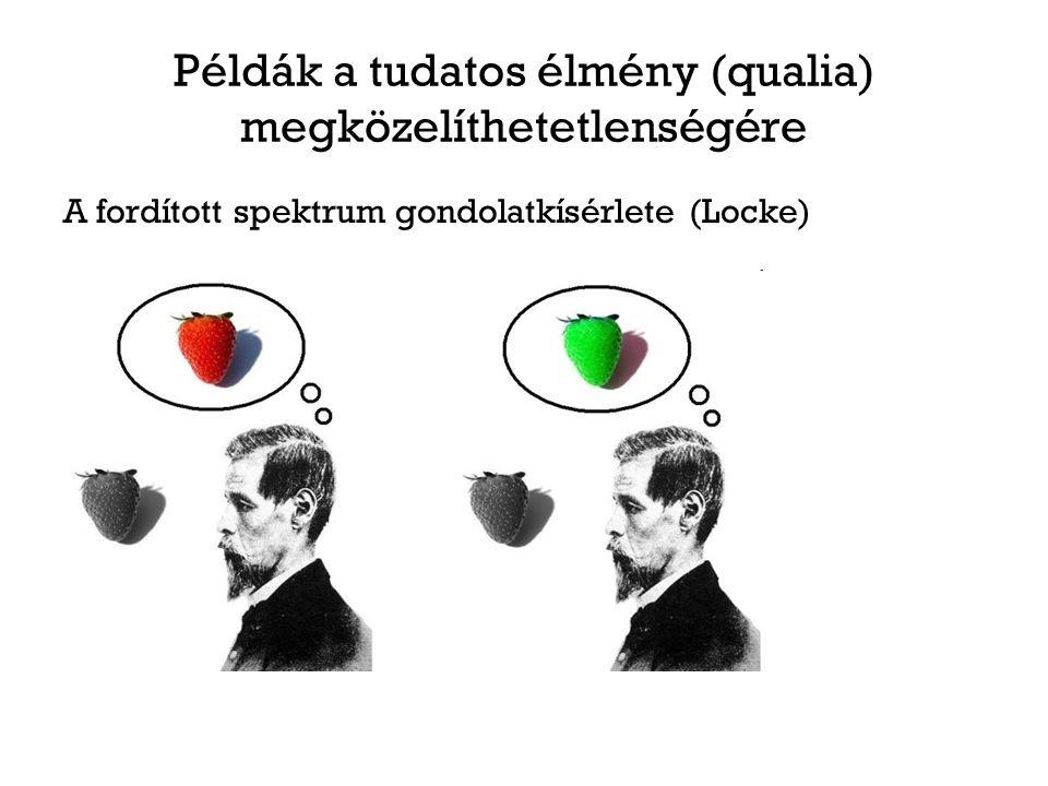 Példák a tudatos élmény (qualia) megközelíthetetlenségére A fordított spektrum gondolatkísérlete (Locke)