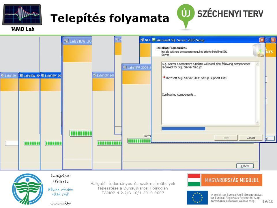 Telepítés folyamata 19/10 Hallgatói tudományos és szakmai műhelyek fejlesztése a Dunaújvárosi Főiskolán TÁMOP-4.2.2/B-10/1-2010-0007
