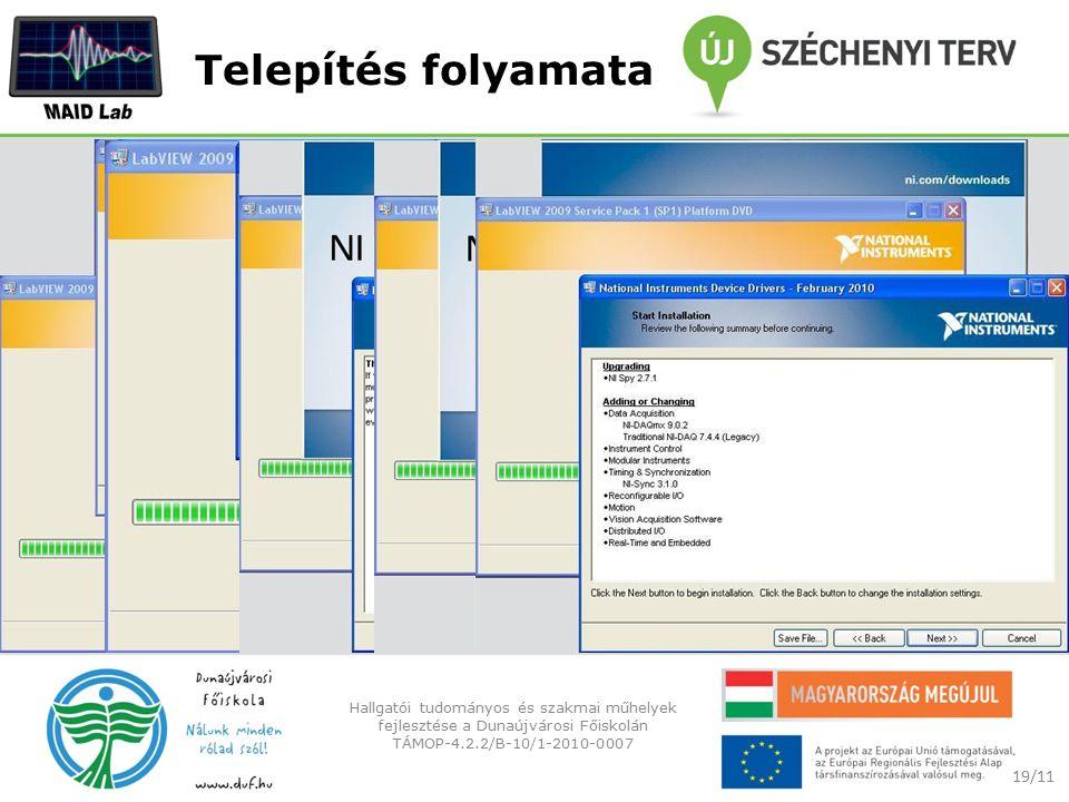 Telepítés folyamata 19/11 Hallgatói tudományos és szakmai műhelyek fejlesztése a Dunaújvárosi Főiskolán TÁMOP-4.2.2/B-10/1-2010-0007