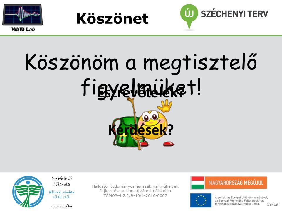 Köszönet 19/19 Hallgatói tudományos és szakmai műhelyek fejlesztése a Dunaújvárosi Főiskolán TÁMOP-4.2.2/B-10/1-2010-0007 Észrevételek.