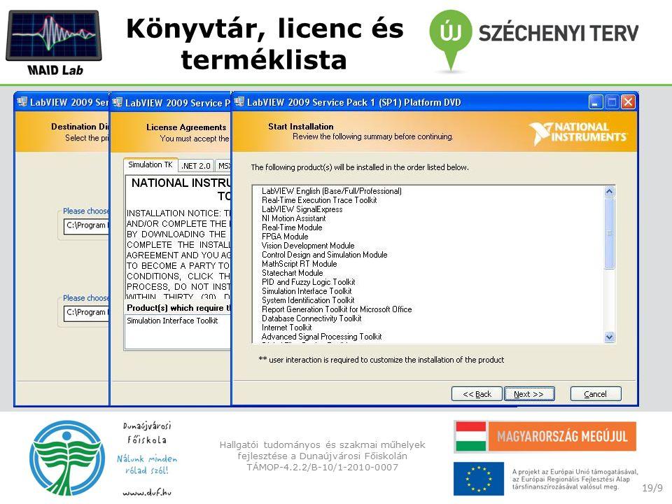 Könyvtár, licenc és terméklista 19/9 Hallgatói tudományos és szakmai műhelyek fejlesztése a Dunaújvárosi Főiskolán TÁMOP-4.2.2/B-10/1-2010-0007