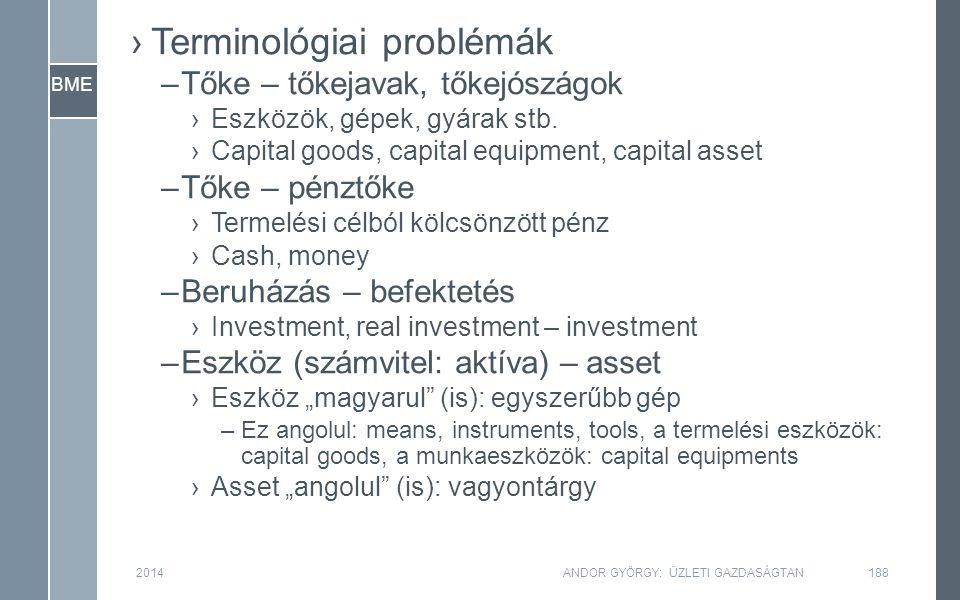 BME ›Terminológiai problémák –Tőke – tőkejavak, tőkejószágok ›Eszközök, gépek, gyárak stb. ›Capital goods, capital equipment, capital asset –Tőke – pé