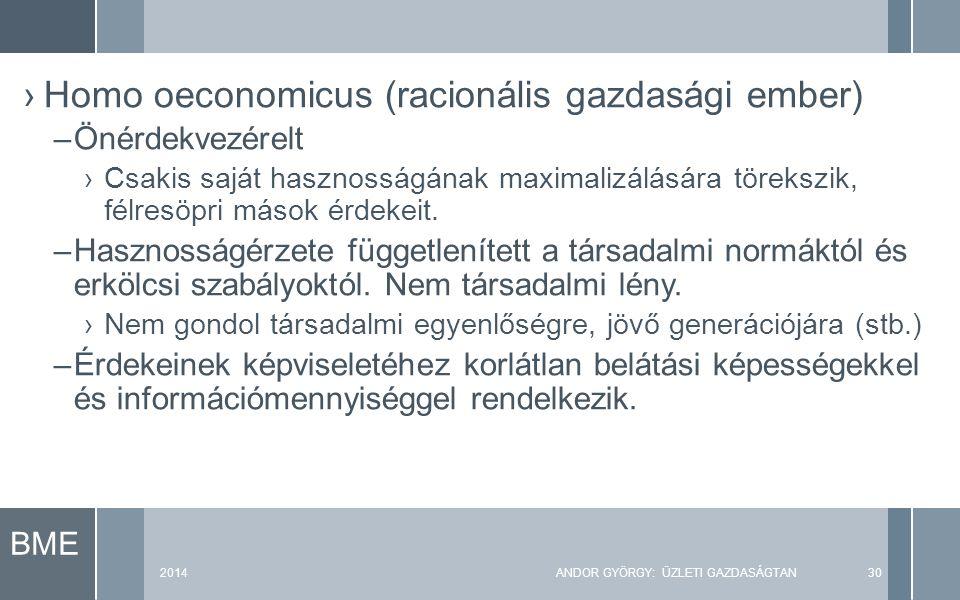 BME 2014ANDOR GYÖRGY: ÜZLETI GAZDASÁGTAN30 ›Homo oeconomicus (racionális gazdasági ember) –Önérdekvezérelt ›Csakis saját hasznosságának maximalizálásá