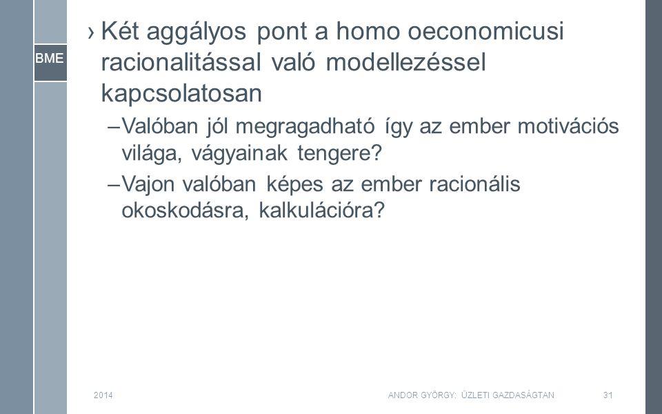 BME ›Két aggályos pont a homo oeconomicusi racionalitással való modellezéssel kapcsolatosan –Valóban jól megragadható így az ember motivációs világa,