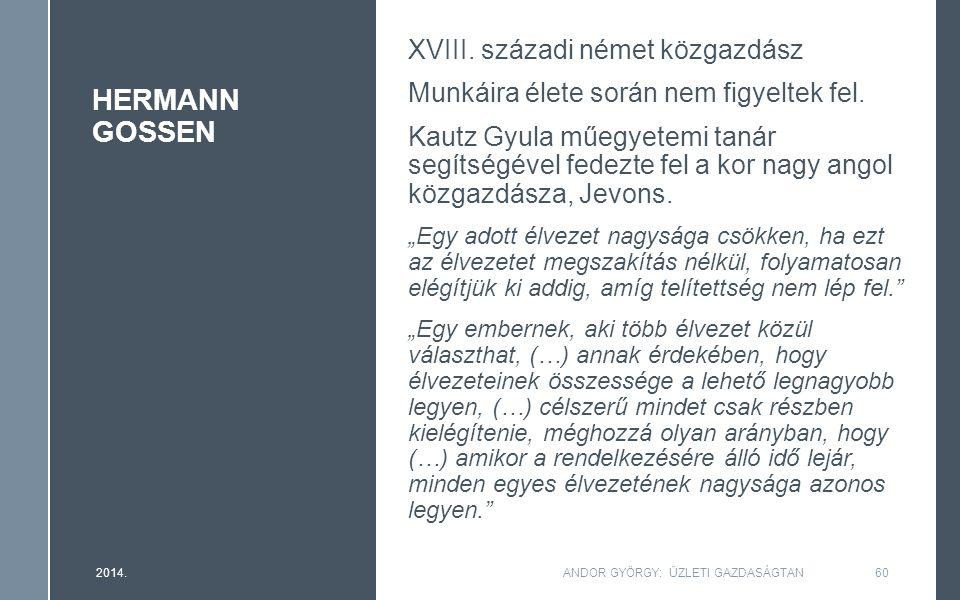 HERMANN GOSSEN XVIII. századi német közgazdász Munkáira élete során nem figyeltek fel. Kautz Gyula műegyetemi tanár segítségével fedezte fel a kor nag