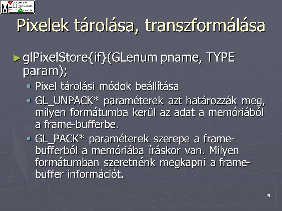 15 Pixelek tárolása, transzformálása ► glPixelStore{if}(GLenum pname, TYPE param);  Pixel tárolási módok beállítása  GL_UNPACK* paraméterek azt határozzák meg, milyen formátumba kerül az adat a memóriából a frame-bufferbe.
