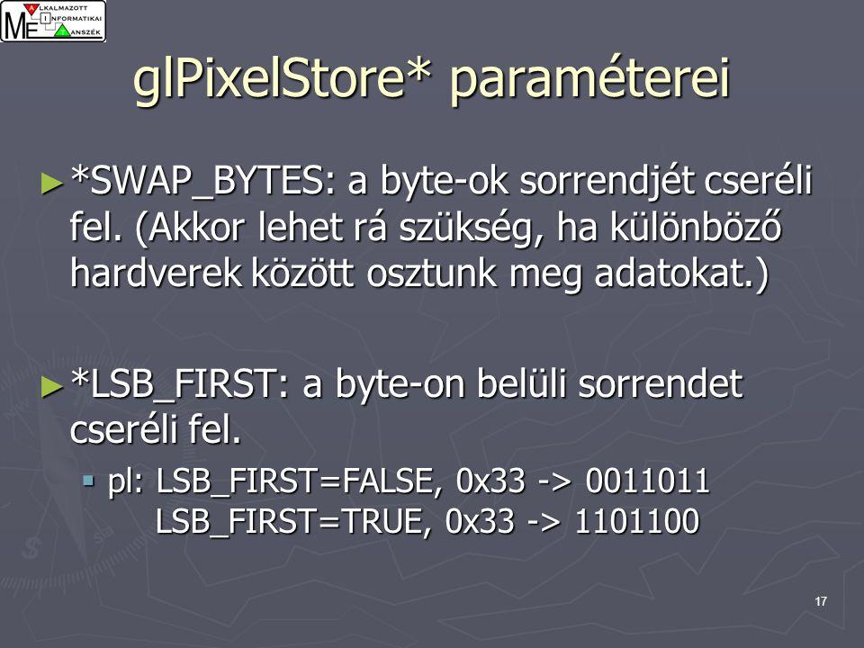 17 glPixelStore* paraméterei ► *SWAP_BYTES: a byte-ok sorrendjét cseréli fel. (Akkor lehet rá szükség, ha különböző hardverek között osztunk meg adato
