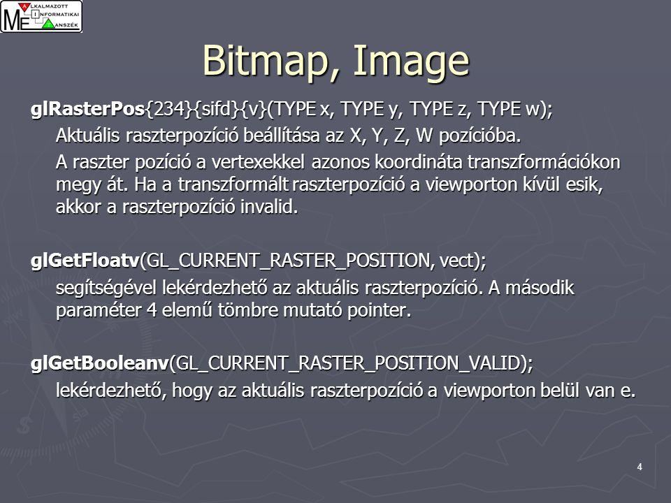 5 Bitmap GLubyte bitmap[24] = { 0xc0, 0x00, 0xc0, 0x00, 0xc0, 0x00, 0xc0, 0x00, 0xc0, 0x00, 0xff, 0x00, 0xff, 0x00, 0xc0, 0x00, 0xc0, 0x00, 0xc0, 0x00, 0xff, 0xc0, 0xff, 0xc0 };